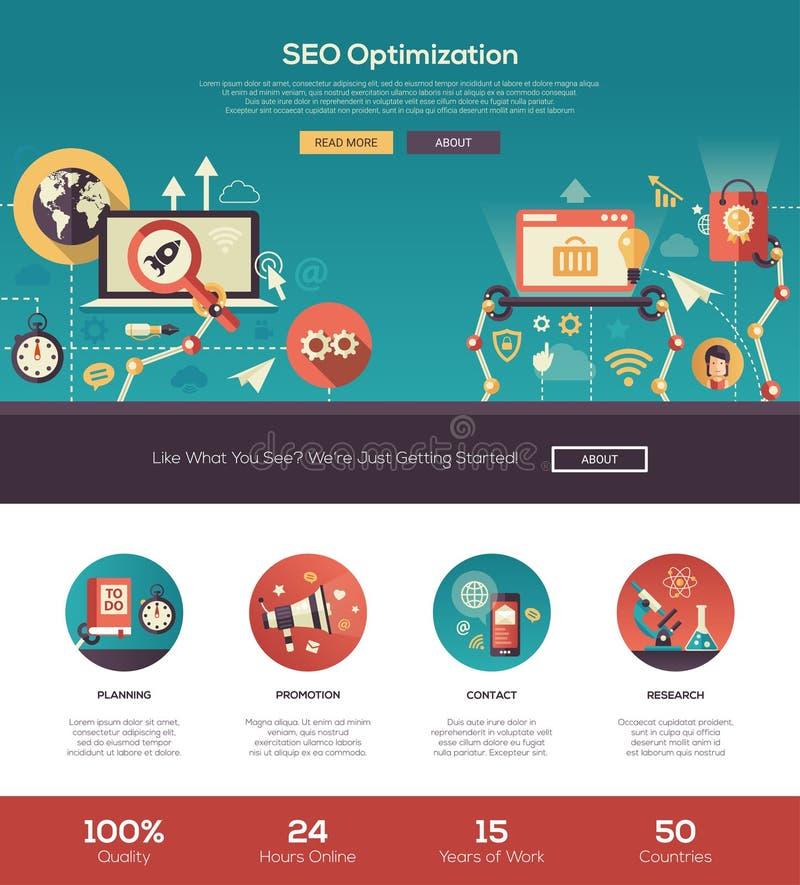 Plant för optimizationwebsite för design SEO baner för titelrad med webdesignbeståndsdelar stock illustrationer