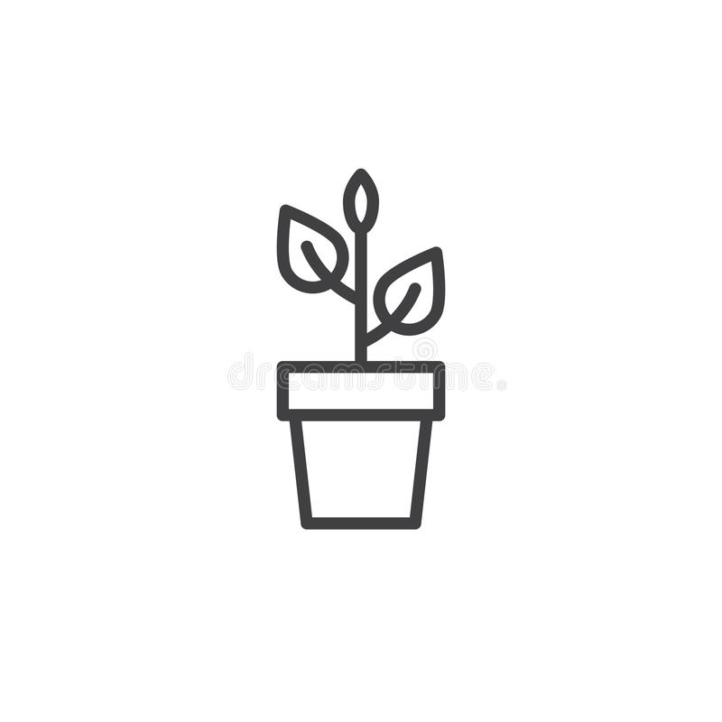 Plant in flower pot line icon. Outline vector sign, linear style pictogram isolated on white. Symbol, logo illustration. Editable stroke royalty free illustration