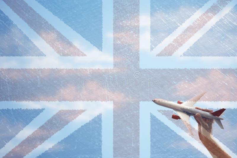 Download Plant Flyg För Leksak Framme Av Den Union Jack Flaggan Arkivfoto - Bild av briten, livsstil: 78730884