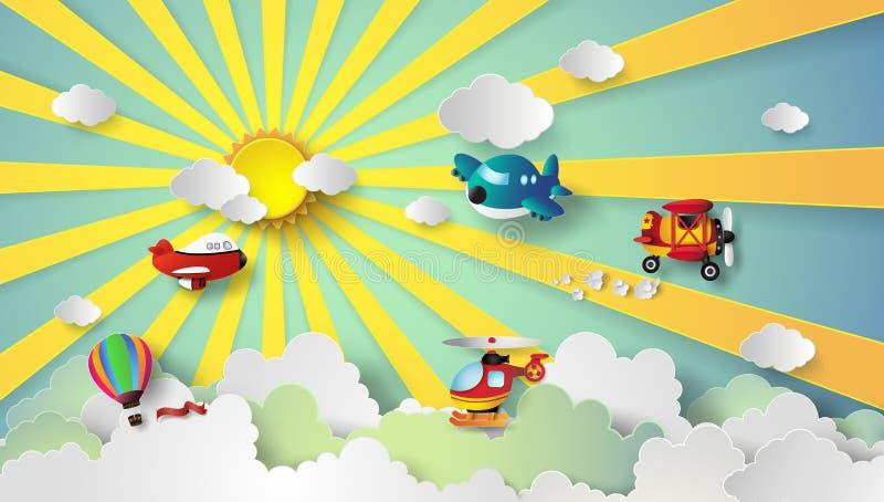 Plant flyg på himmel royaltyfri illustrationer