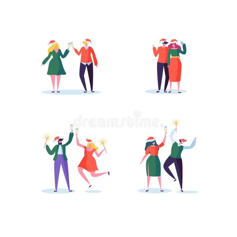 Plant folk som firar partiet för nytt år med Champagne Glasses Glade tecken i Santa Claus Hats på jul vektor illustrationer