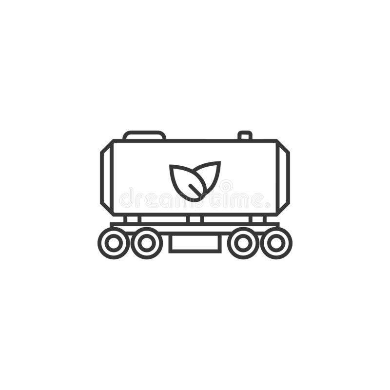 Plant Fuel Train icon. Simple outline  of Sustainable Energy set icons for UI and UX, website or mobile application. On white background royalty free illustration