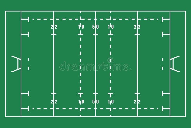 Plant grönt rugbyfält Bästa sikt av fältet för amerikansk fotboll med linjen mall Vektorstadion stock illustrationer