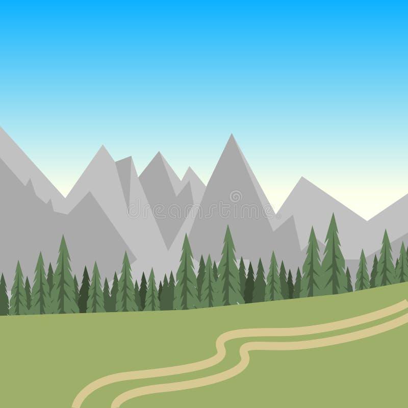 Plant grönt sommarlandskap med kullar, träd och en bana stock illustrationer