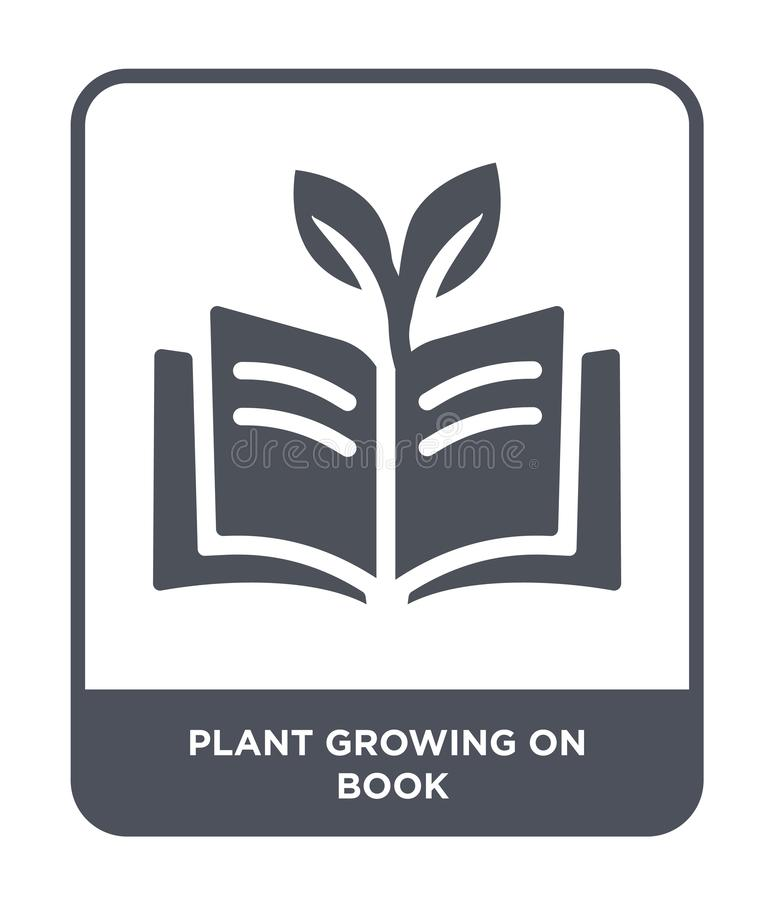 Plant growing on book icon in trendy design style. plant growing on book icon isolated on white background. plant growing on book. Vector icon simple and modern stock illustration