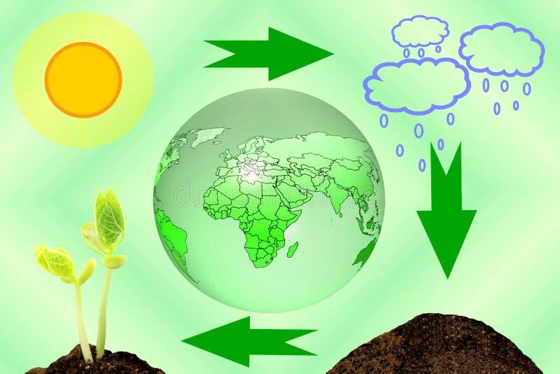 Plant Growing Cycle concept sun cloud soil plant world stock illustration