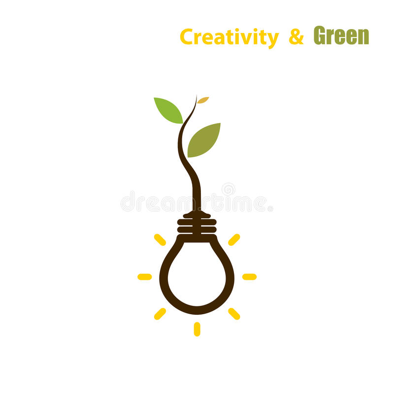 Plant growing inside the light bulb.Green eco energy concept. royalty free illustration