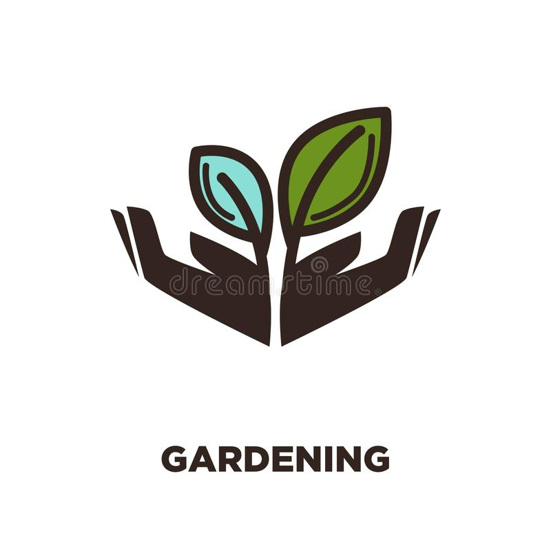 Plant growing from open hands logo design. Two leaves isolated. Gardening concept. Symbol of care, protection, growth and spring beauty. Vector illustration of stock illustration