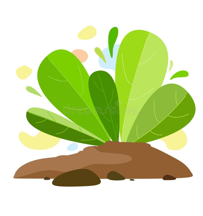 A plant growing out of the ground with spots on the background in the style of flat. Fantasy plant elements on white background. Vector royalty free illustration