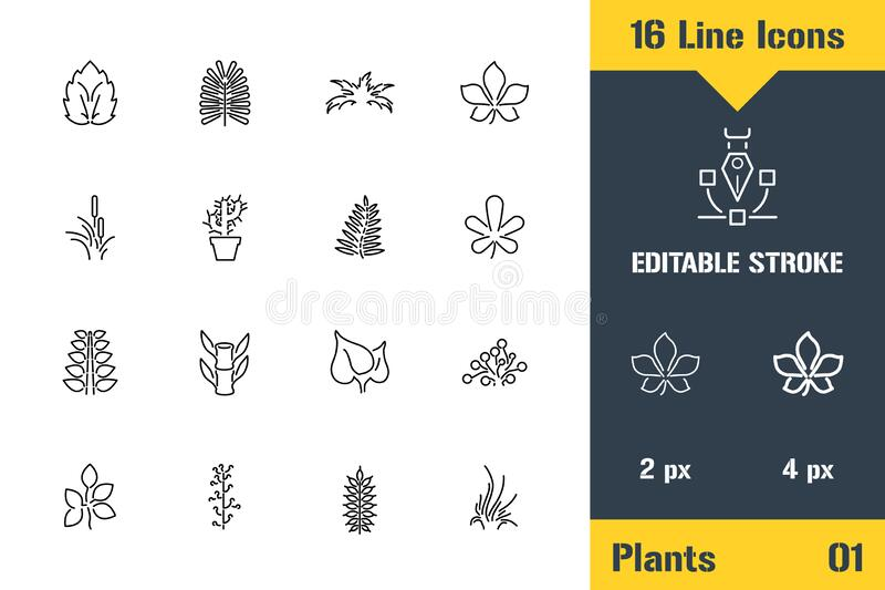 Plant Growing, Plants Foliage Leaf. Thin line icon - Outline flat vector illustration. Editable stroke pictogram. Premium quality stock photography