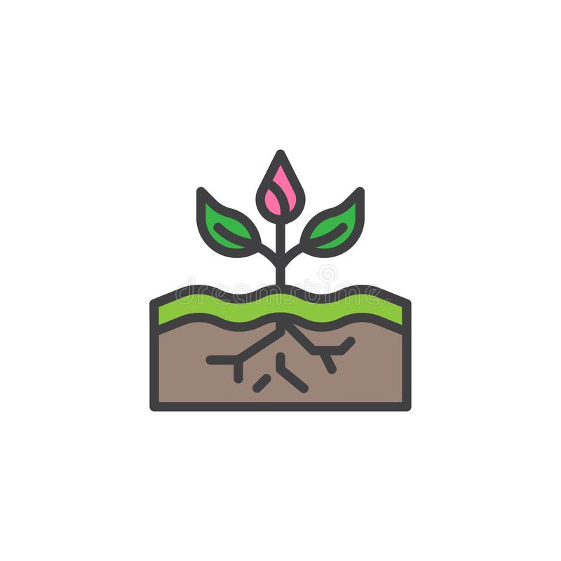 Plant growing in soil filled outline icon vector illustration