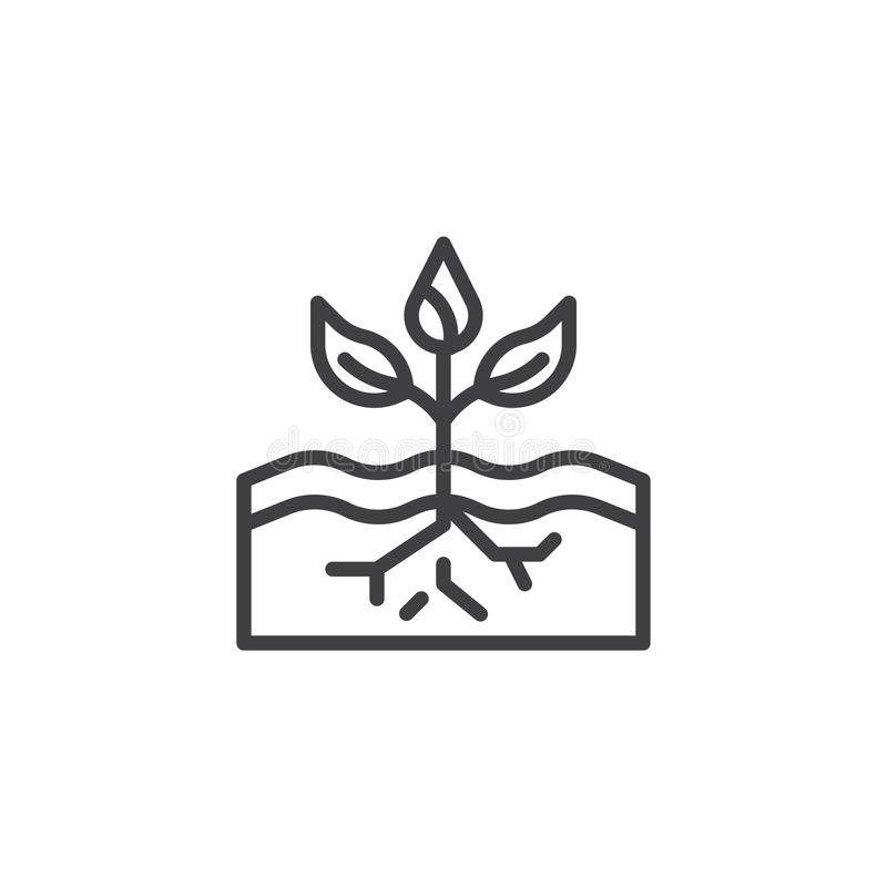 Plant in soil outline icon stock illustration