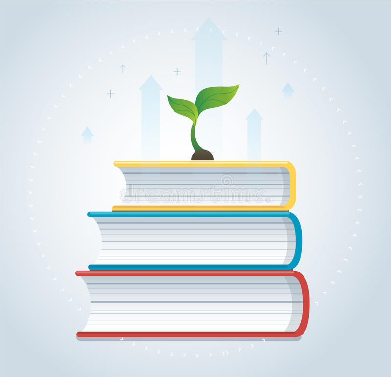 Plant growth on the books icon design vector illustration, education concepts. EPS10 stock illustration
