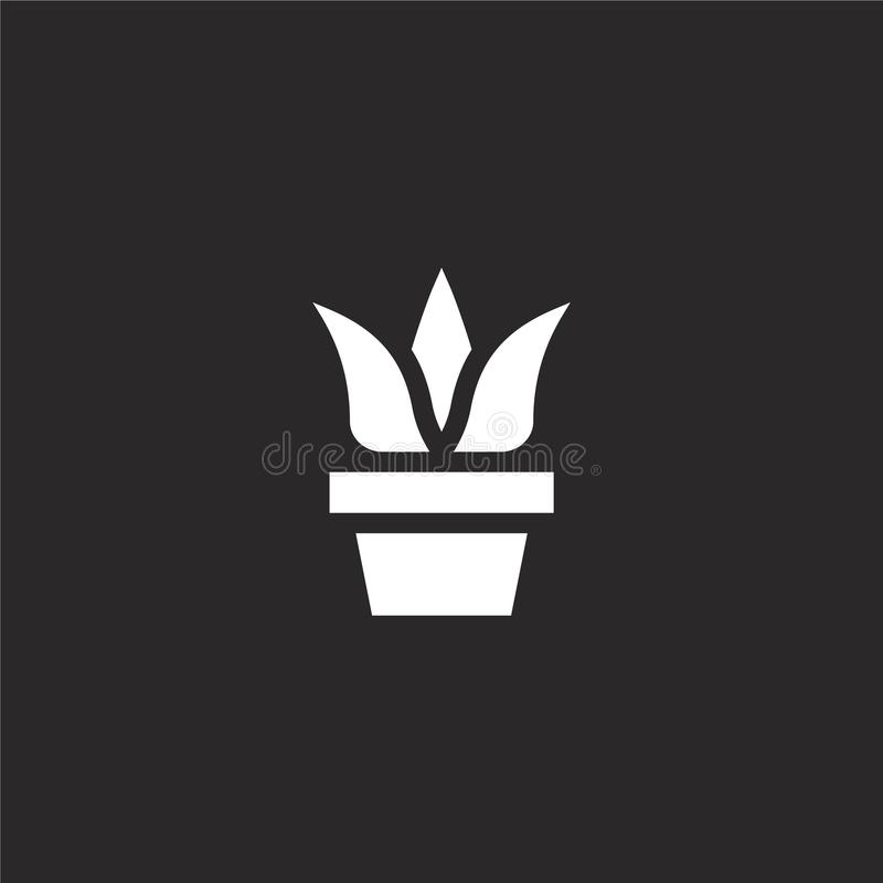 Plant icon. Filled plant icon for website design and mobile, app development. plant icon from filled hobbies and freetime. Collection isolated on black vector illustration