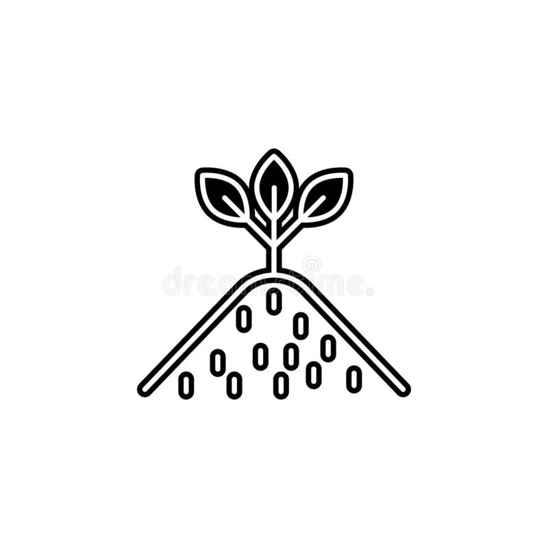 Plant icon. Simple glyph, flat vector of biology icons for ui and ux, website or mobile application. On white background stock illustration