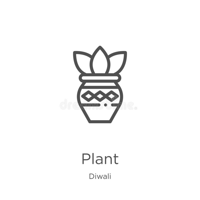 Plant icon vector from diwali collection. Thin line plant outline icon vector illustration. Outline, thin line plant icon for. Plant icon. Element of diwali vector illustration