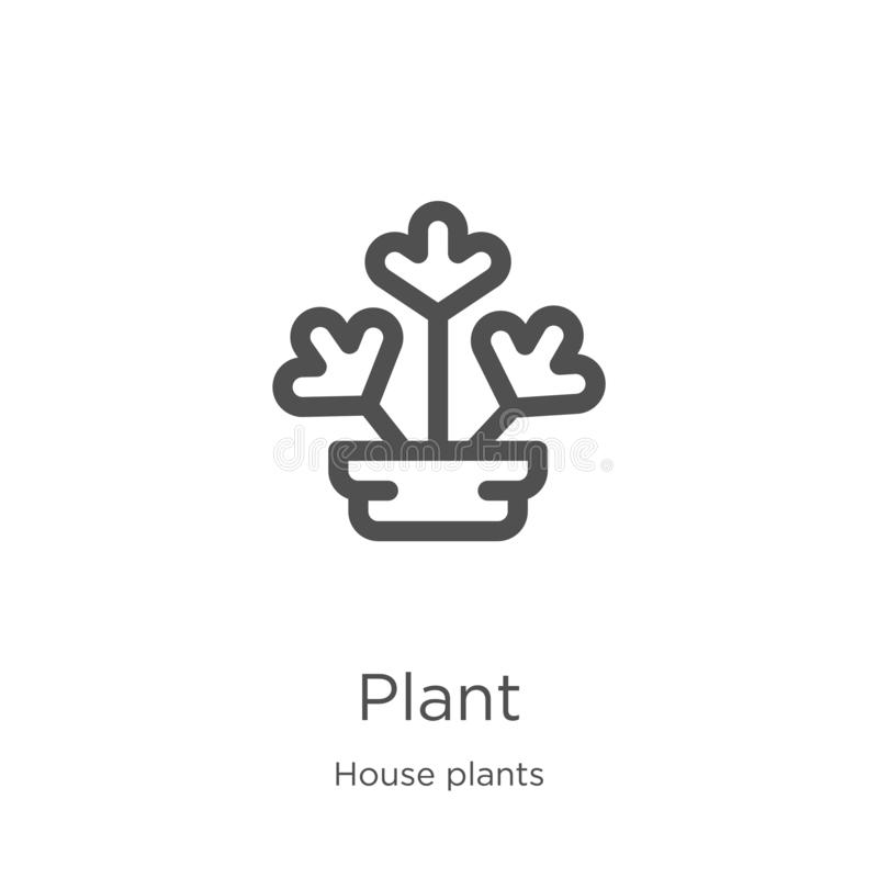 Plant icon vector from house plants collection. Thin line plant outline icon vector illustration. Outline, thin line plant icon. Plant icon. Element of house royalty free illustration