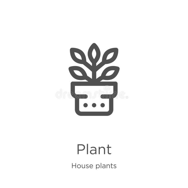 Plant icon vector from house plants collection. Thin line plant outline icon vector illustration. Outline, thin line plant icon. Plant icon. Element of house stock illustration