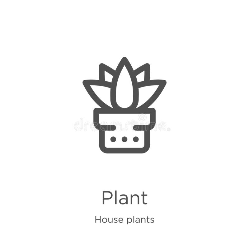 Plant icon vector from house plants collection. Thin line plant outline icon vector illustration. Outline, thin line plant icon. Plant icon. Element of house vector illustration