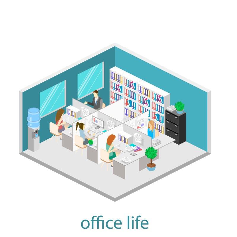 Plant isometriskt abstrakt för golvinre för kontor 3d begrepp för avdelningar white för kontor för livstid för bild för bakgrund  stock illustrationer