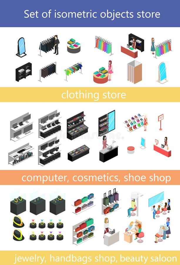 Plant isometriskt begrepp för shoppinggalleria 3d uppsättning av beståndsdelar för köpcentrum vektor illustrationer
