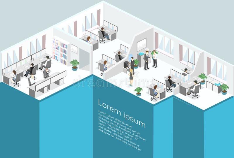 Plant isometriskt för golvinre för kontor 3d begrepp för avdelningar vektor illustrationer