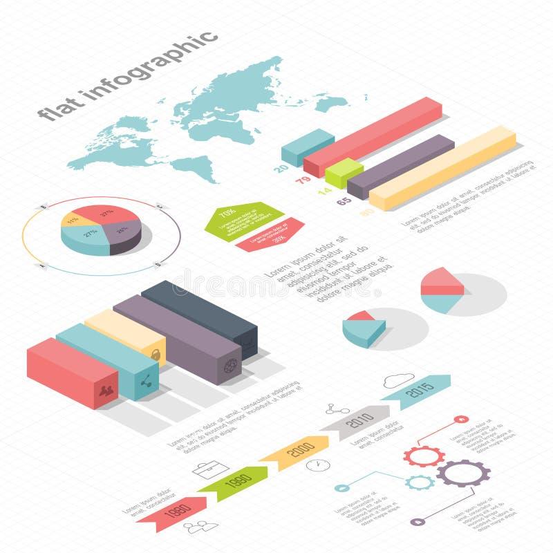 Plant isometriskt infographic 3d för dina affärspresentationer vektor illustrationer