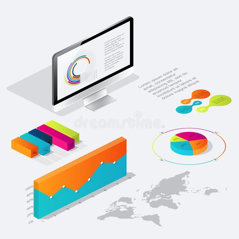 Plant isometriskt infographic 3d för dina affärspresentationer stock illustrationer