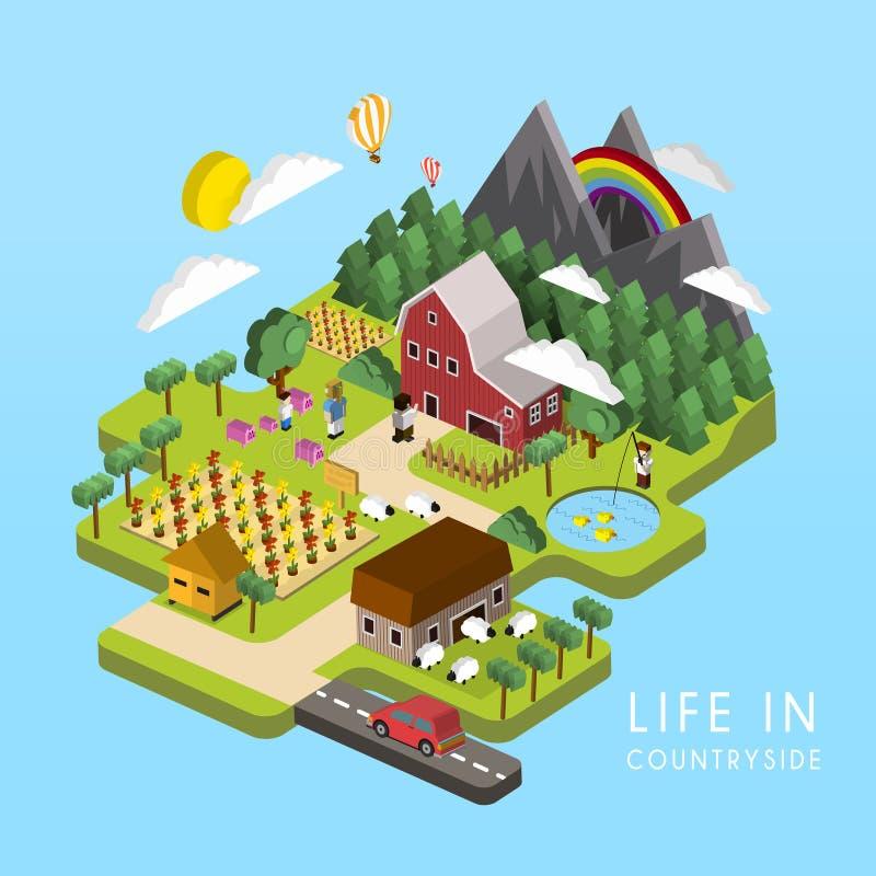 Plant isometriskt liv 3d i bygdillustration royaltyfri illustrationer
