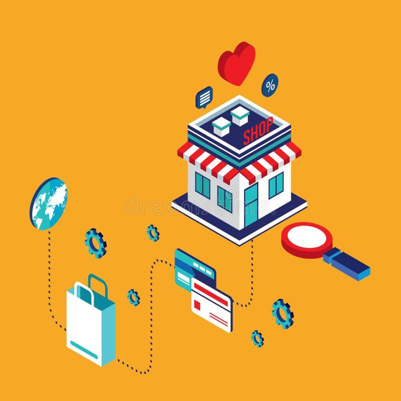 Plant isometriskt online-shopping för modern design 3d och e-kommers begrepp royaltyfri illustrationer