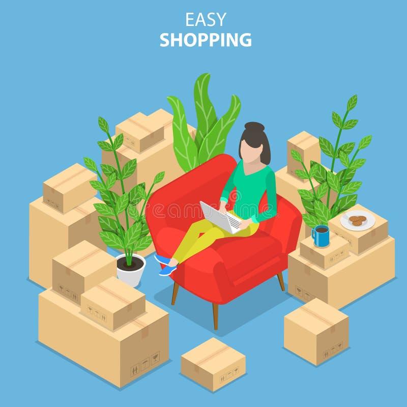 Plant isometriskt vektorbegrepp av lätt shopping, e-kommers, online-lager stock illustrationer