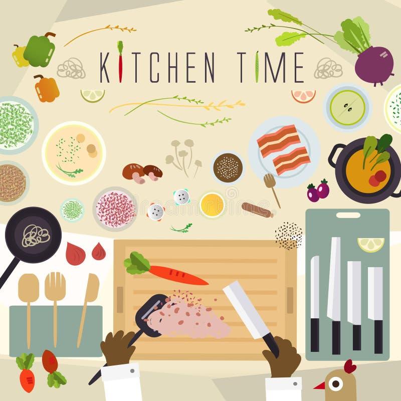 Plant köksbord för att laga mat i plan design stock illustrationer
