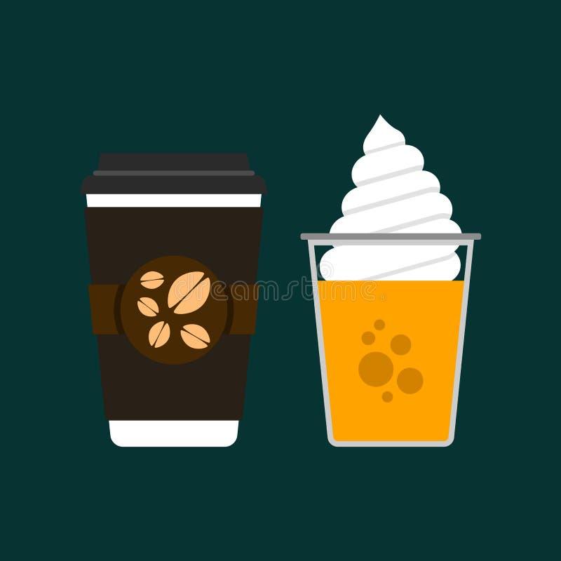 Plant kaffe och orange sodavatten royaltyfri illustrationer