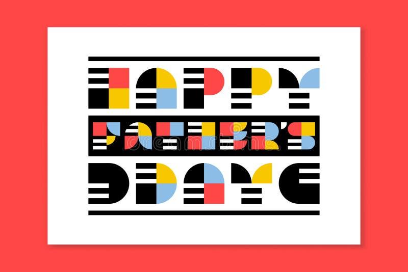 Plant kort för hälsning för stilfaderdag med retro bokstäver stock illustrationer