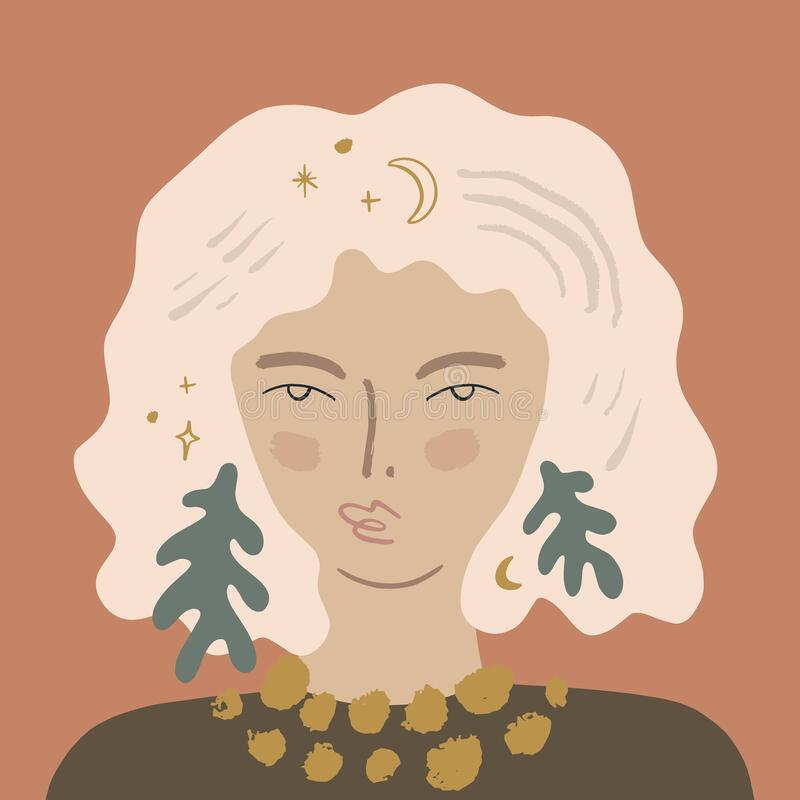 Plant Lady Magical Pretty Girl Elf Female Portret Blonde Fairy Beauty Concept Woman Avatar Fashion Beauty Flat Style Vector royalty-vrije illustratie