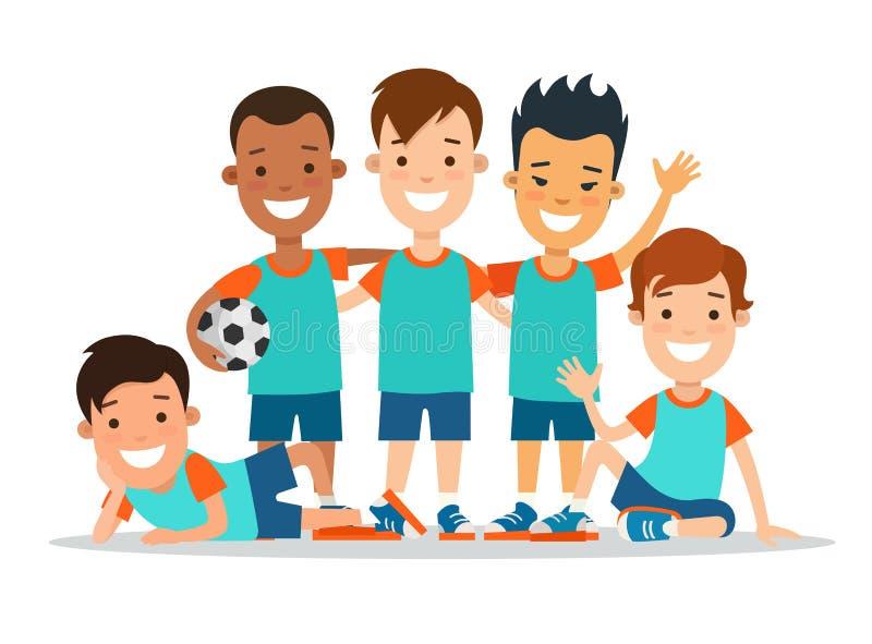 Plant lag s för spelare för barnfotbollfotboll royaltyfri illustrationer