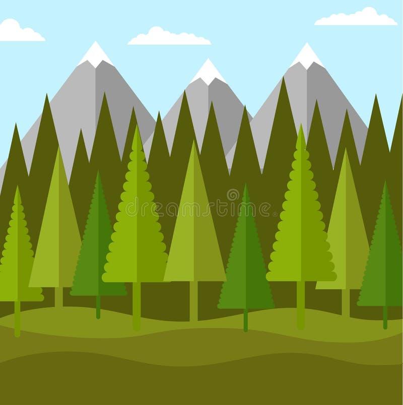 Plant landskap av skogen av barrträd och berg royaltyfri illustrationer