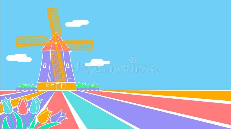 Plant lantligt sommarlandskap Holland vektor illustrationer