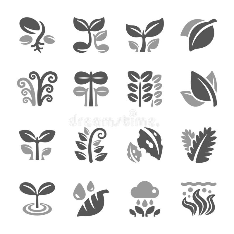 Plant and leaf icon set. Vector and illustration royalty free illustration