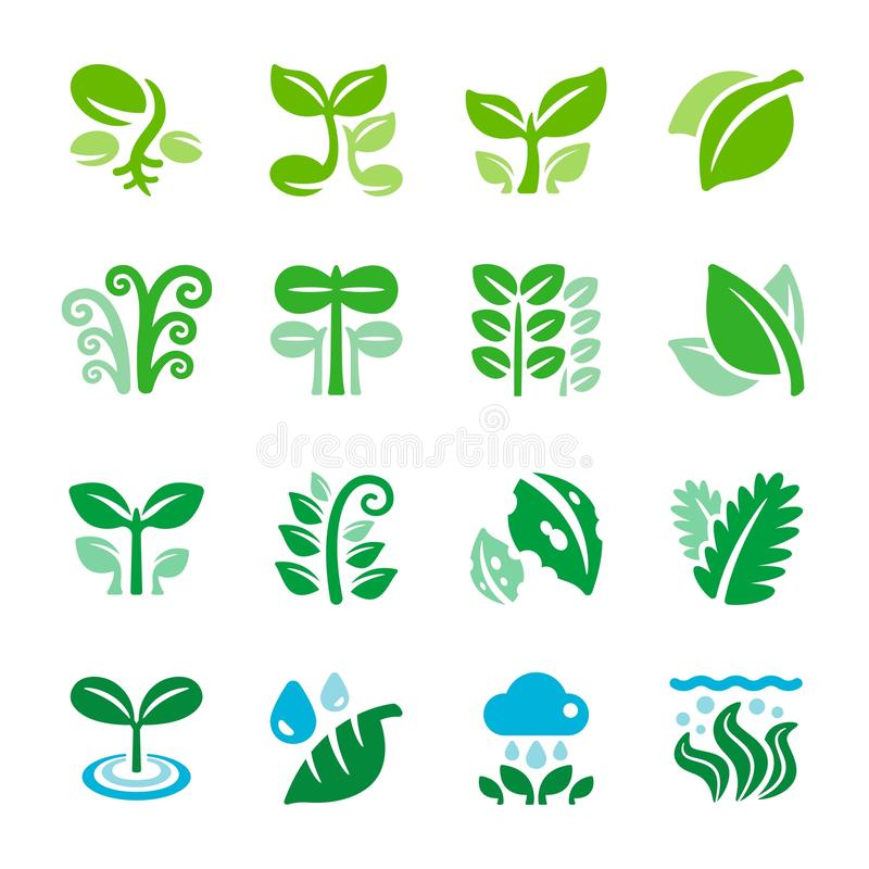 Plant and leaf icon set. Vector and illustration stock illustration