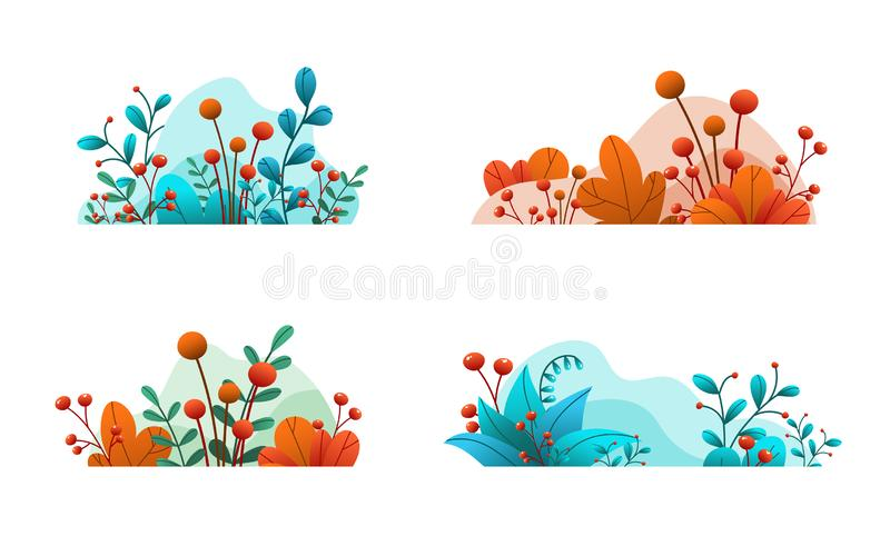 Plant leaves and flowers. Set of abstract natural banners isolated on white background. Intensive floral decorative elements. Han royalty free illustration