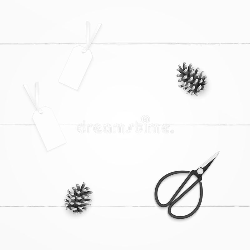 Plant lekmanna- elegant sammansättningspapper för den bästa sikten sörjer kotteetiketter och tappningmetallsax på träbakgrund royaltyfria bilder