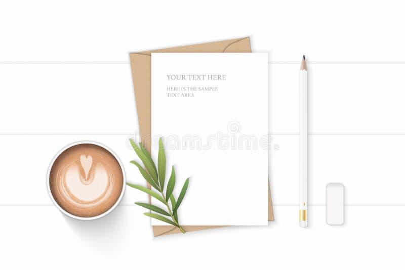Plant lekmanna- för sammansättningsbokstav för bästa sikt elegant vitt för kraft blad och radergummi för dragon för blyertspenna  royaltyfri illustrationer