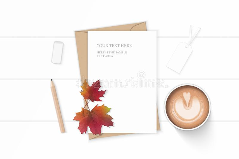 Plant lekmanna- för sammansättningsbokstav för bästa sikt elegant vitt för kraft etikett och radergummi för lönnlöv för höst för  royaltyfri illustrationer