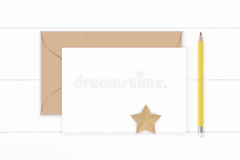 Plant lekmanna- för sammansättningsbrevpapper för bästa sikt elegant vitt för kraft hantverk för form för stjärna kuvert och gul  stock illustrationer
