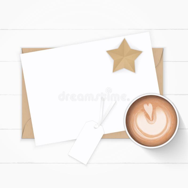 Plant lekmanna- för sammansättningspapper för bästa sikt elegant vitt för kraft hantverk och kaffe för stjärna för etikett kuvert royaltyfri illustrationer
