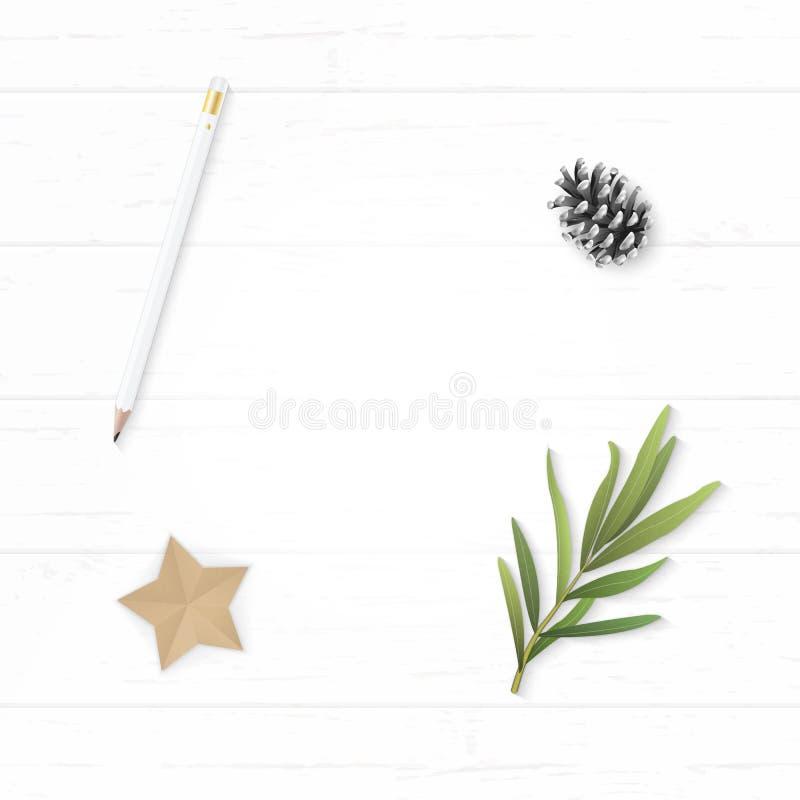 Plant lekmanna- papper för sammansättning för vit jul för den bästa sikten elegant sörjer hantverket för form för bladet och för  royaltyfri fotografi