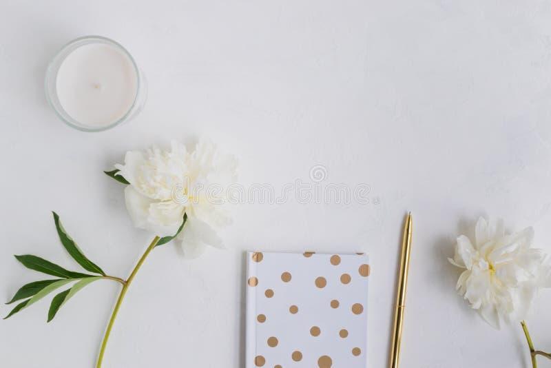 Plant lekmanna- skrivbord med den vit pioner, anteckningsboken och tillbeh?r royaltyfria foton