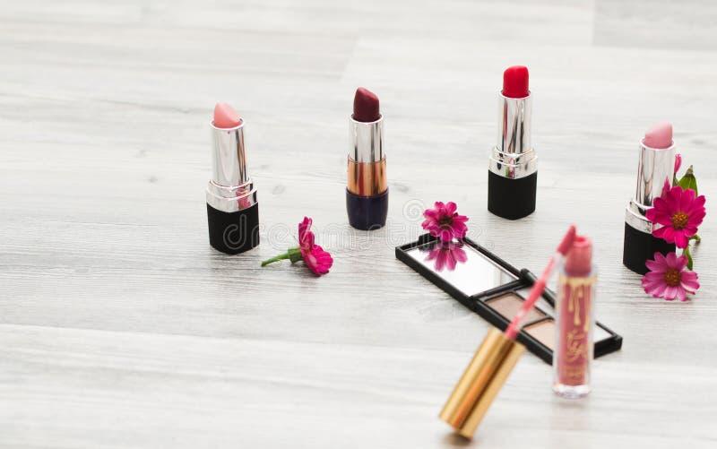 Plant ligga, bild av skönhetsmedel Bästa sikt av tabellen för makeup för kvinna` s inklusive läppstift, ögonlappar, fundament, bo royaltyfria foton