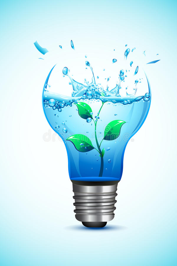 Plant in Light Bulb stock illustration
